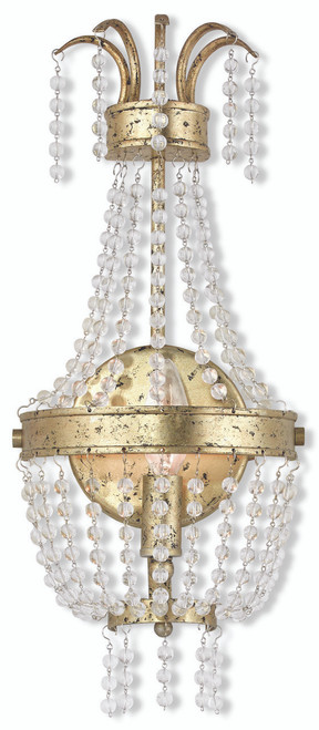 LIVEX Lighting 51872-28 Valentina Wall Sconce with Hand-Applied Winter Gold (1 Light)