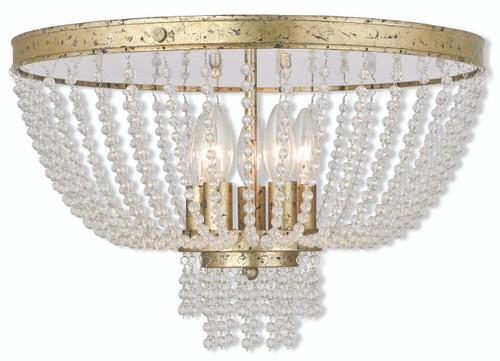 LIVEX Lighting 51866-28 Valentina Flushmount with Hand-Applied Winter Gold (5 Light)