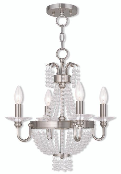LIVEX Lighting 51844-91 Valentina Convertible Mini Chandelier/Flushmount in Brushed Nickel (4 Light)