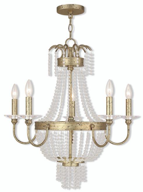 LIVEX Lighting 51845-28 Valentina Chandelier with Hand-Applied Winter Gold (5 Light)