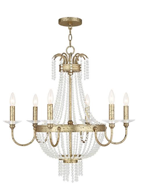 LIVEX Lighting 51846-28 Valentina Chandelier with Hand-Applied Winter Gold (6 Light)