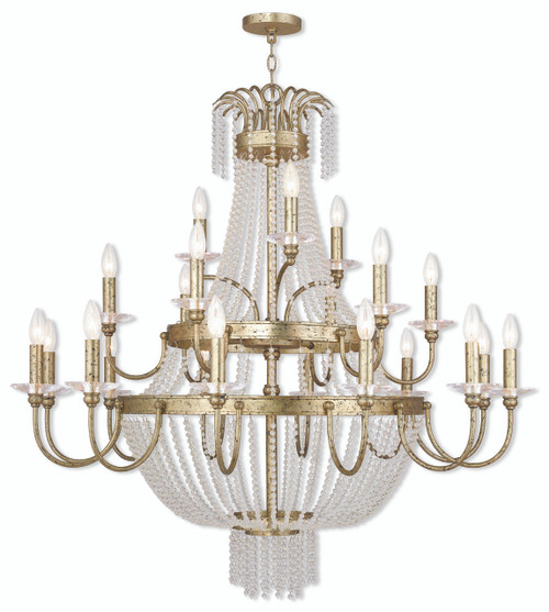 LIVEX Lighting 51877-28 Valentina Foyer Chandelier with Hand-Applied Winter Gold (21 Light)