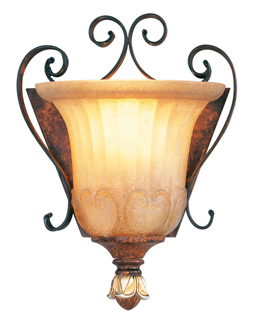 LIVEX Lighting 8560-63 Villa Verona Wall Sconce in Verona Bronze with Aged Gold Leaf Accents (1 Light)