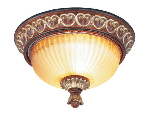 LIVEX Lighting 8562-63 Villa Verona Flushmount in Verona Bronze with Aged Gold Leaf Accents (2 Light)
