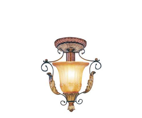 LIVEX Lighting 8578-63 Villa Verona Flushmount in Verona Bronze with Aged Gold Leaf Accents (1 Light)