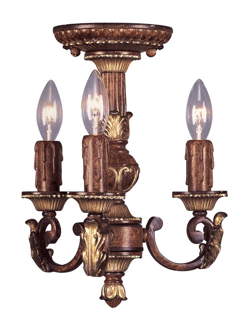 LIVEX Lighting 8583-63 Villa Verona Mini Chandelier in Verona Bronze with Aged Gold Leaf Accents (3 Light)