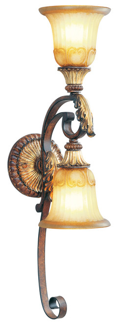 LIVEX Lighting 8572-63 Villa Verona Wall Sconce in Verona Bronze with Aged Gold Leaf Accents (2 Light)