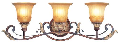 LIVEX Lighting 8553-63 Villa Verona Bath Light in Verona Bronze with Aged Gold Leaf Accents (3 Light)