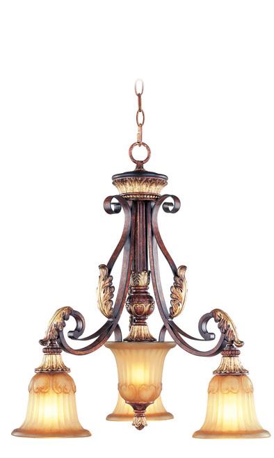 LIVEX Lighting 8573-63 Villa Verona Chandelier in Verona Bronze with Aged Gold Leaf Accents (3 Light)