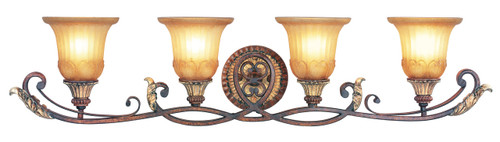 LIVEX Lighting 8554-63 Villa Verona Bath Light in Verona Bronze with Aged Gold Leaf Accents (4 Light)