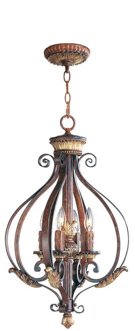 LIVEX Lighting 8556-63 Villa Verona Foyer Light in Verona Bronze with Aged Gold Leaf Accents (4 Light)