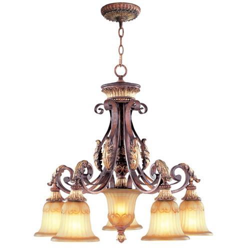 LIVEX Lighting 8575-63 Villa Verona Chandelier in Verona Bronze with Aged Gold Leaf Accents (5 Light)