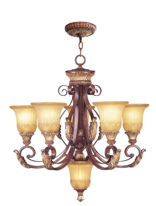 LIVEX Lighting 8555-63 Villa Verona Chandelier in Verona Bronze with Aged Gold Leaf Accents (5 Light)