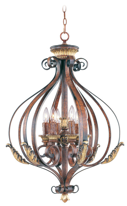 LIVEX Lighting 8557-63 Villa Verona Foyer Light in Verona Bronze with Aged Gold Leaf Accents (6 Light)