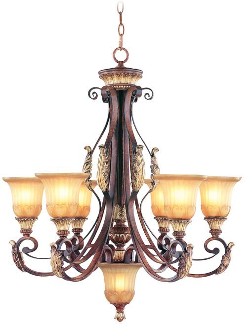 LIVEX Lighting 8576-63 Villa Verona Chandelier in Verona Bronze with Aged Gold Leaf Accents (6 Light)