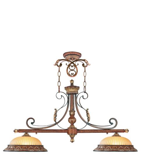 LIVEX Lighting 8582-63 Villa Verona Island Light in Verona Bronze with Aged Gold Leaf Accents (2 Light)