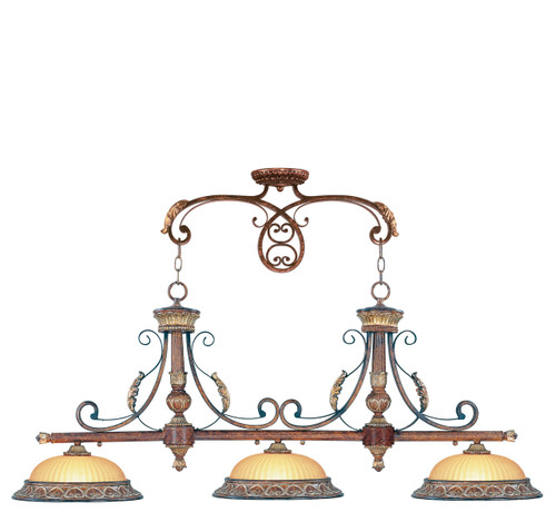 LIVEX Lighting 8584-63 Villa Verona Island Light in Verona Bronze with Aged Gold Leaf Accents (3 Light)