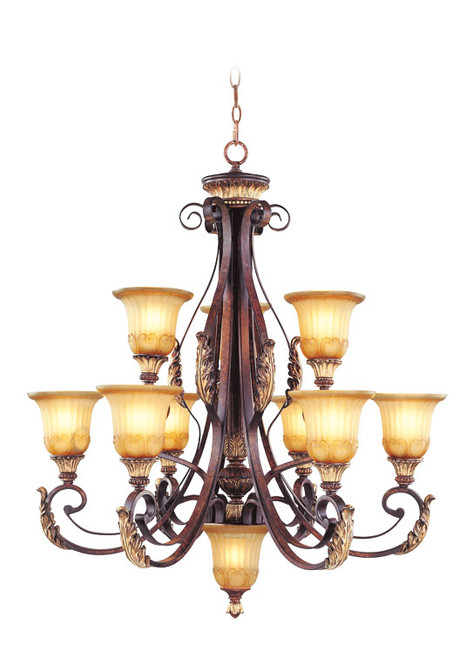 LIVEX Lighting 8579-63 Villa Verona Chandelier in Verona Bronze with Aged Gold Leaf Accents (9 Light)