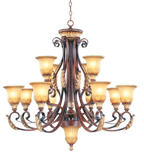 LIVEX Lighting 8559-63 Villa Verona Chandelier in Verona Bronze with Aged Gold Leaf Accents (12 Light)