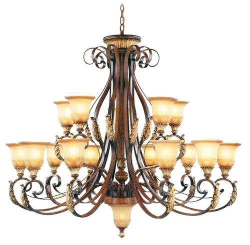 LIVEX Lighting 8568-63 Villa Verona Chandelier in Verona Bronze with Aged Gold Leaf Accents (15 Light)