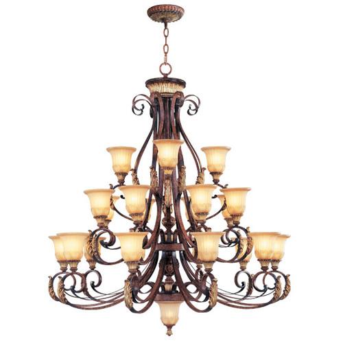 LIVEX Lighting 8569-63 Villa Verona Chandelier in Verona Bronze with Aged Gold Leaf Accents (22 Light)