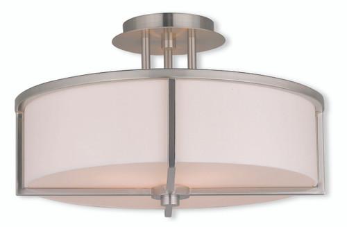 LIVEX Lighting 51074-91 Wesley Flushmount in Brushed Nickel (3 Light)