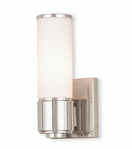 LIVEX Lighting 52121-35 Weston Contemporary ADA Wall Sconce/Bath Vanity in Polished Nickel (1 Light)