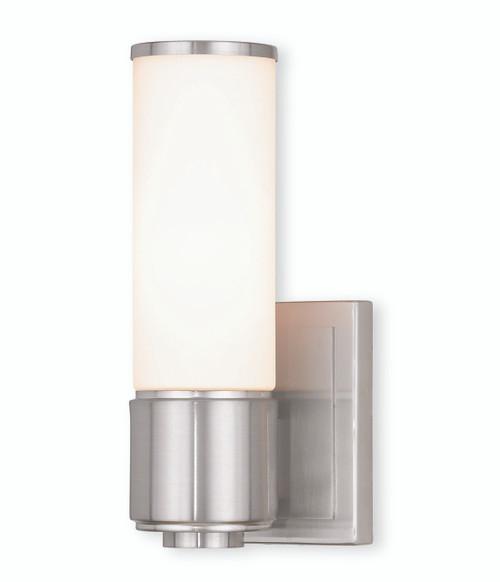 LIVEX Lighting 52121-91 Weston Contemporary ADA Wall Sconce/Bath Vanity in Brushed Nickel (1 Light)