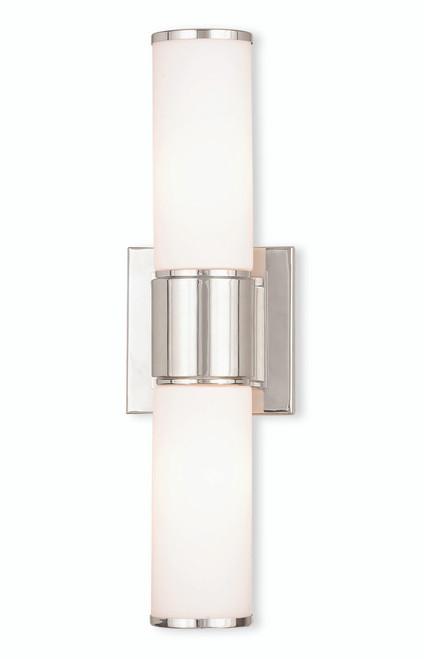 LIVEX Lighting 52122-35 Weston Contemporary ADA Wall Sconce/Bath Vanity in Polished Nickel (2 Light)