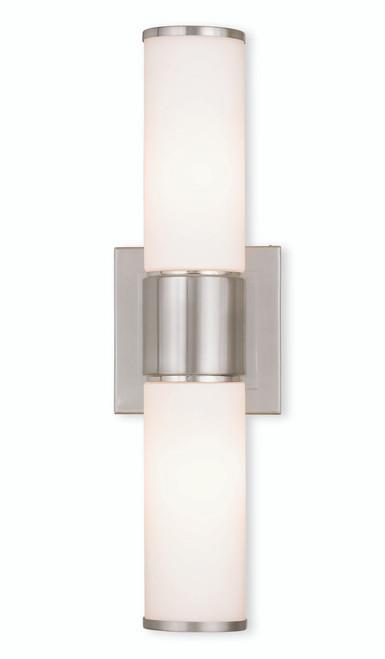 LIVEX Lighting 52122-91 Weston Contemporary ADA Wall Sconce/Bath Vanity in Brushed Nickel (2 Light)