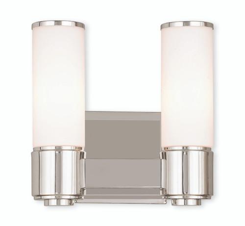 LIVEX Lighting 52102-35 Weston Contemporary ADA Wall Sconce/Bath Vanity in Polished Nickel (2 Light)
