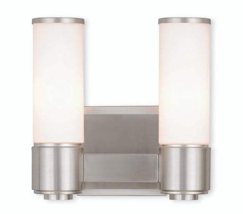 LIVEX Lighting 52102-91 Weston Contemporary ADA Wall Sconce/Bath Vanity in Brushed Nickel (2 Light)