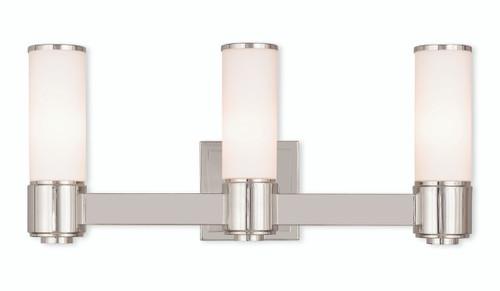 LIVEX Lighting 52123-35 Weston Contemporary ADA Wall Sconce/Bath Vanity in Polished Nickel (3 Light)