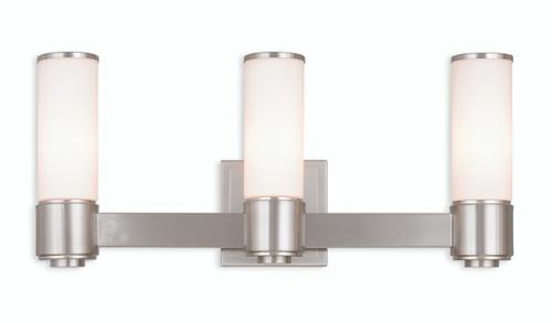 LIVEX Lighting 52123-91 Weston Contemporary ADA Wall Sconce/Bath Vanity in Brushed Nickel (3 Light)