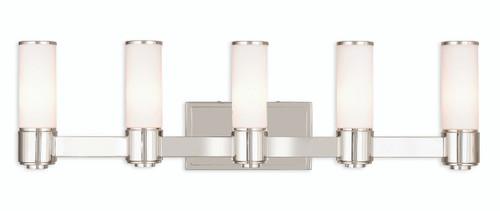 LIVEX Lighting 52125-35 Weston Contemporary ADA Wall Sconce/Bath Vanity in Polished Nickel (5 Light)
