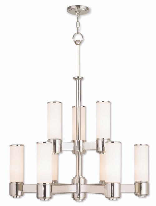LIVEX Lighting 52109-35 Weston Contemporary Chandelier in Polished Nickel (9 Light)