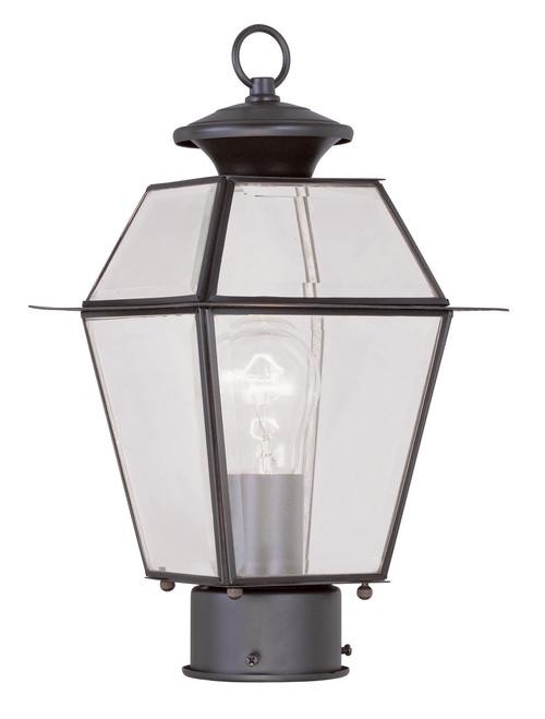 LIVEX Lighting 2182-07 Westover Outdoor Post Lantern in Bronze (1 Light)