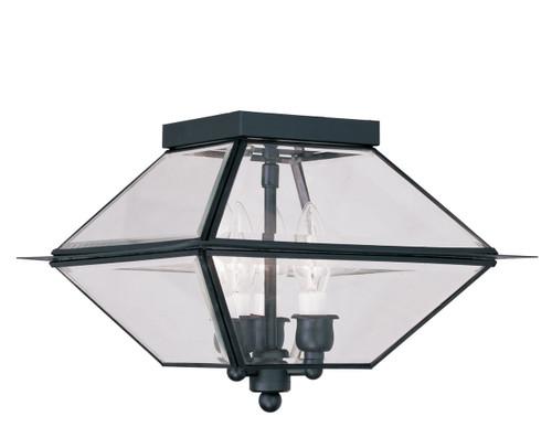 LIVEX Lighting 2185-04 Westover Outdoor/Indoor Flushmount in Black (3 Light)