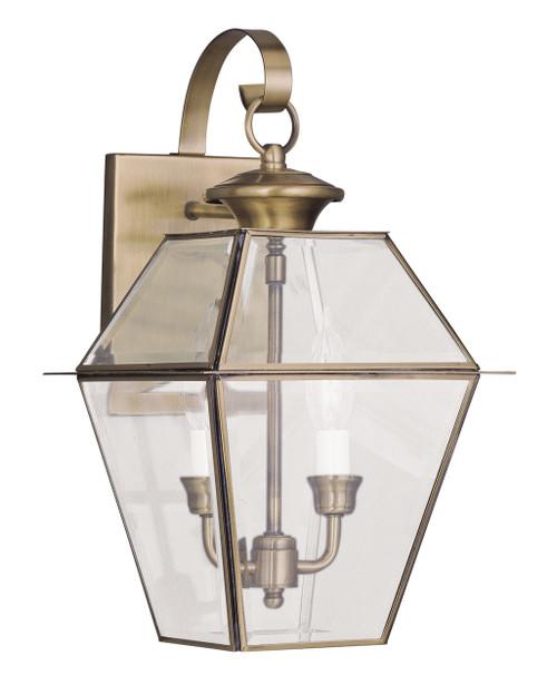 LIVEX Lighting 2281-01 Westover Outdoor Wall Lantern in Antique Brass (2 Light)