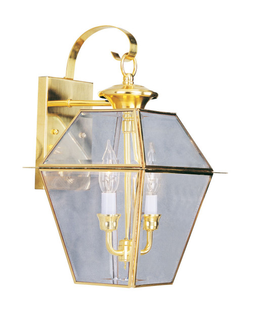 LIVEX Lighting 2281-02 Westover Outdoor Wall Lantern in Polished Brass (2 Light)