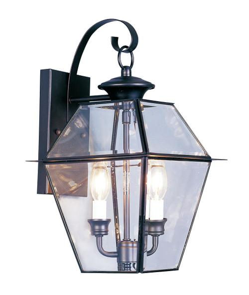 LIVEX Lighting 2281-04 Westover Outdoor Wall Lantern in Black (2 Light)