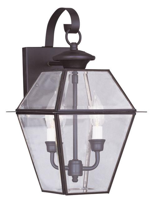 LIVEX Lighting 2281-07 Westover Outdoor Wall Lantern in Bronze (2 Light)