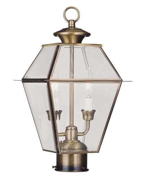 LIVEX Lighting 2284-01 Westover Outdoor Post Lantern in Antique Brass (2 Light)