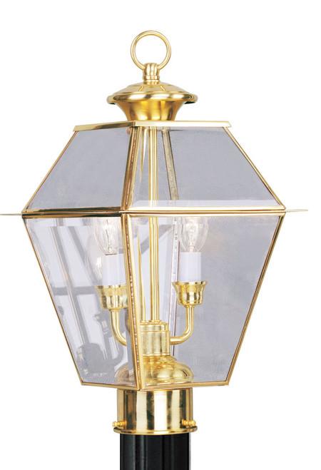 LIVEX Lighting 2284-02 Westover Outdoor Post Lantern in Polished Brass (2 Light)