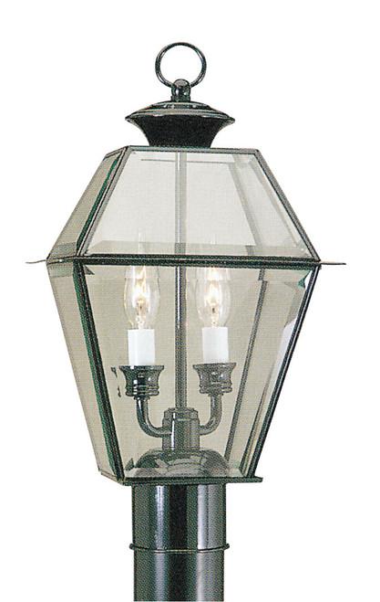 LIVEX Lighting 2284-04 Westover Outdoor Post Lantern in Black (2 Light)