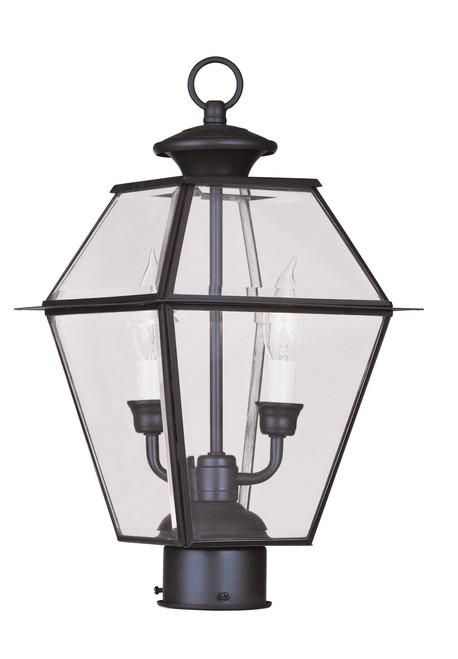 LIVEX Lighting 2284-07 Westover Outdoor Post Lantern in Bronze (2 Light)
