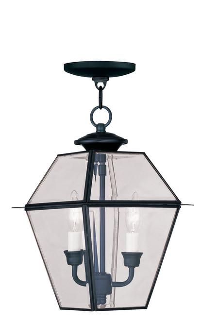 LIVEX Lighting 2285-04 Westover Outdoor Chain Lantern in Black (2 Light)