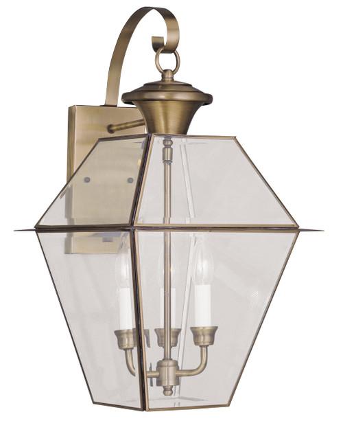 LIVEX Lighting 2381-01 Westover Outdoor Wall Lantern in Antique Brass (3 Light)
