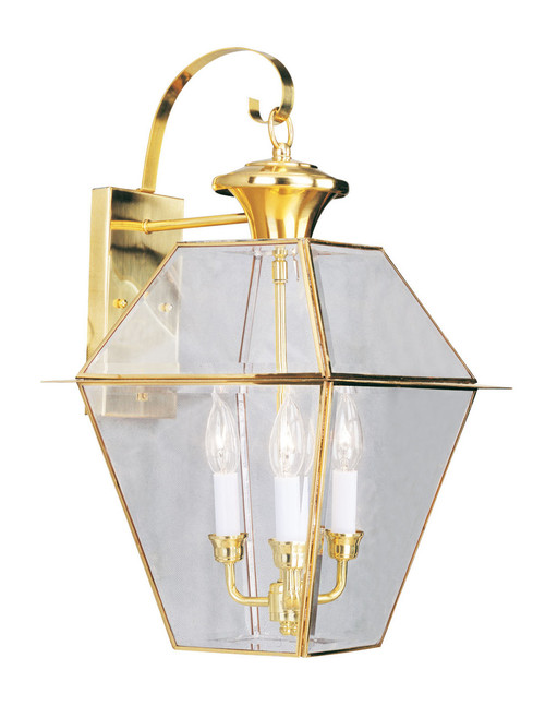 LIVEX Lighting 2381-02 Westover Outdoor Wall Lantern in Polished Brass (3 Light)