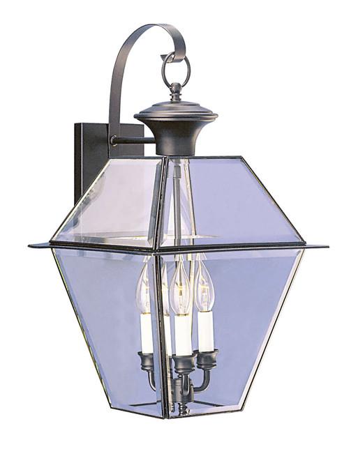 LIVEX Lighting 2381-04 Westover Outdoor Wall Lantern in Black (3 Light)
